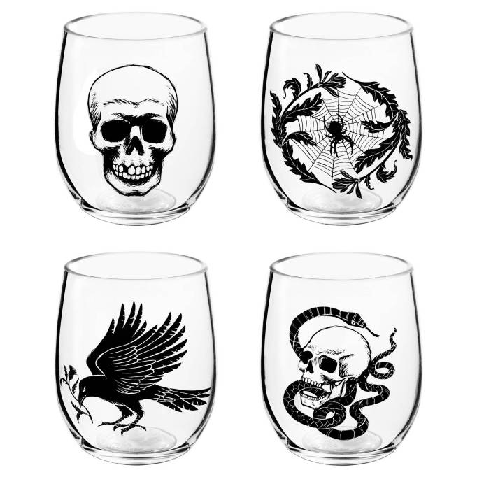 The 15 Best Target Halloween Decorations Under $20 | Get this set of four stemless wine glasses for your parties.