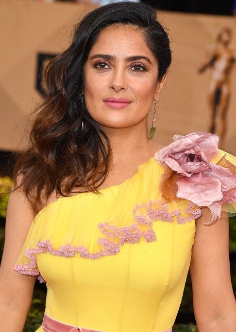 Best Celebrity Hair Transformations of 2017: Salma Hayek's wavy brown hair