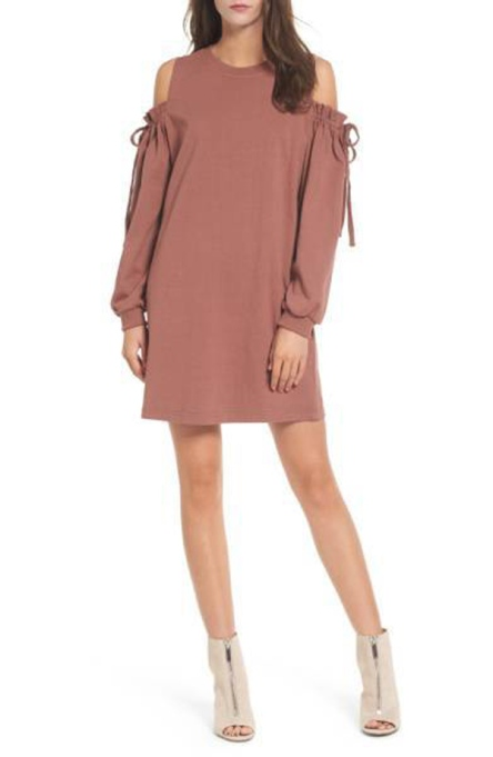 Must-Have Long Sleeve Dresses   LUSH Cold Shoulder Sweatshirt Dress