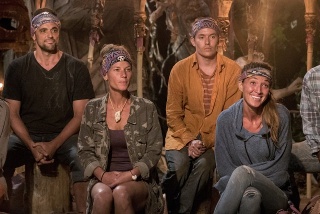 Domenick Abbate, Angela Perkins, Donathan Hurley and Morgan Ricke on Survivor: Ghost Island