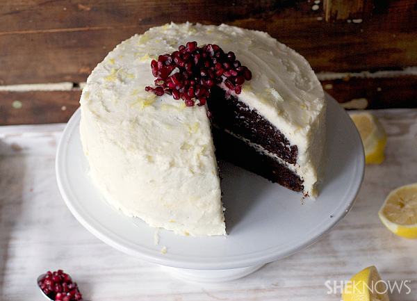 Double layer beet cake with lemon pomegranate frosting