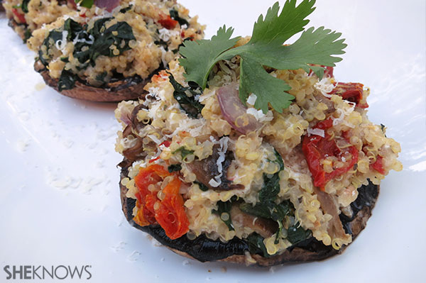 Quinoa-stuffed portobello mushrooms