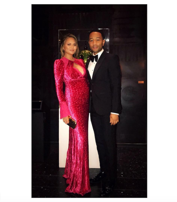 Chrissy Teigen and John Legend at the Nobel Peace Prize Banquet in February 2018