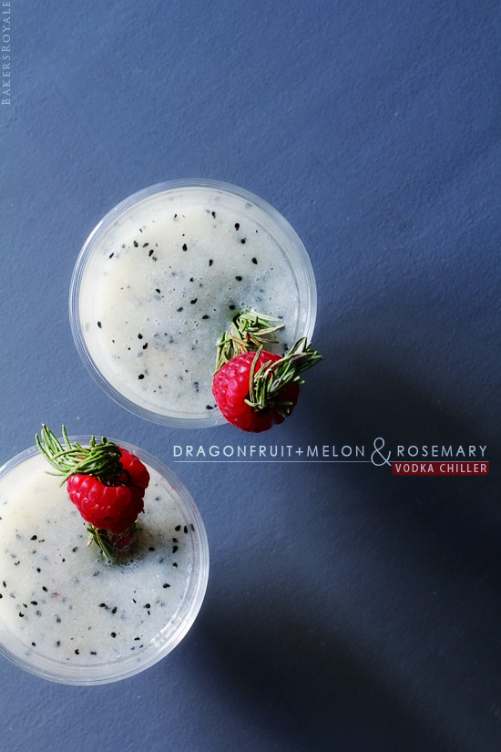 Dragon fruit and melon and rosemary vodka chiller