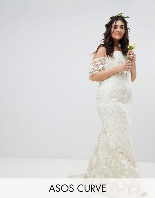 Lace Bandeau Maxi Wedding Dress
