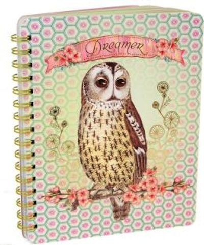 Spiral notebook with owl
