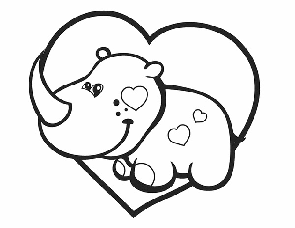 Valentine's Day Coloring Pages: Rhino