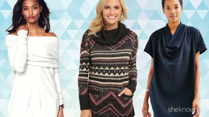 18 Cowl-neck sweater dresses to justify