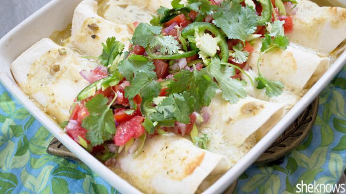 Make easy chicken verde enchiladas in