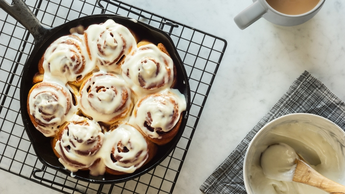Homemade cinnamon rolls or buns baked