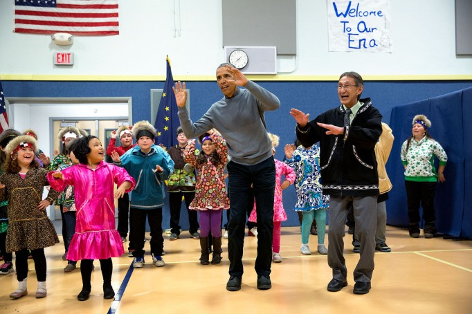Obama attends a middle school dance