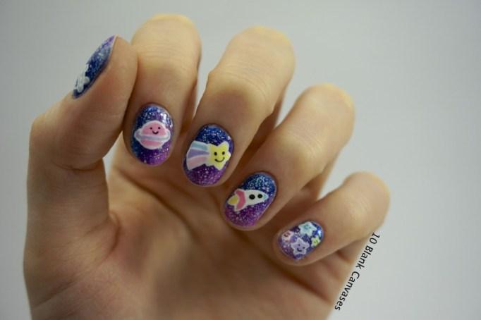 Kawaii space adventure nail art