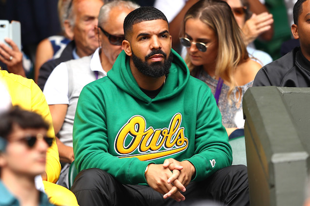 Drake attends day eight of the Wimbledon Lawn Tennis Championships at All England Lawn Tennis and Croquet Club