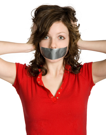 Girl with duct tape on her mouth