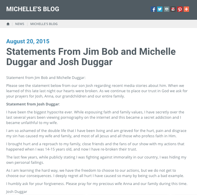 Duggar's revise statement about Josh's cheating