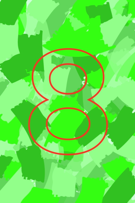 Number 8 on a colorful background