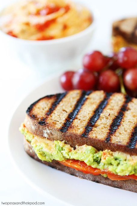 Sandwiches and Wraps for a Healthy Lunch | Roasted Red Pepper Hummus, Avocado, and Feta Sandwich