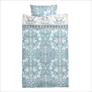 Turquoise blue patterned duvet
