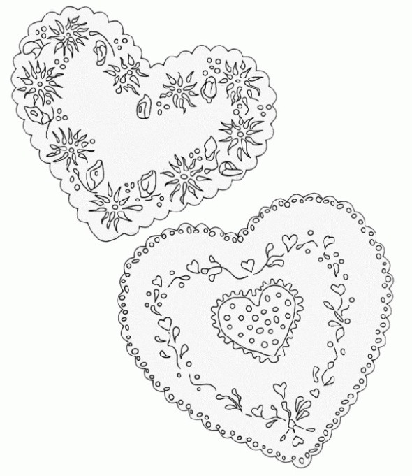 Valentine's Day Coloring Pages: Lace hearts