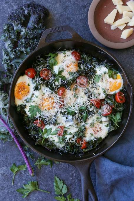 Fall brunch recipes: kale, tomato and parmesan baked eggs