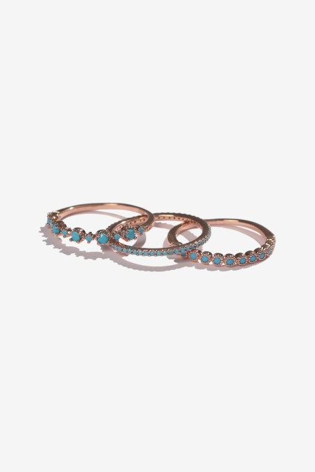 Stackable Rings To Stock Up On: Casey Rose Gold Turquoise Ring Set | Summer Fashion 2017