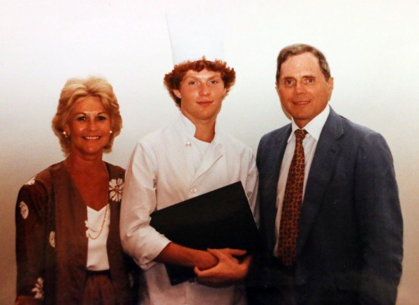 Bobby Flay after culinary school graduation with his boss