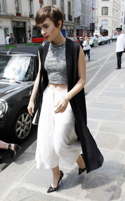 Lily Collins culottes