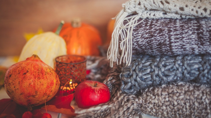Still life autumn decoration made with