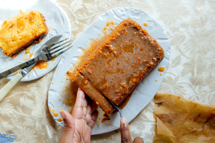 Sweet potato pound cake with spicy,