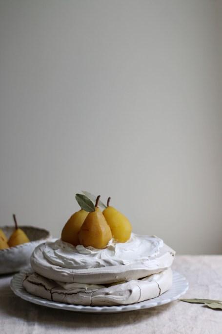 Dairy free dessert recipes: pavlova with poaches pears