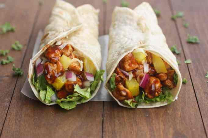 Hawaiian BBQ chicken wraps from Tastes Better From Scratch