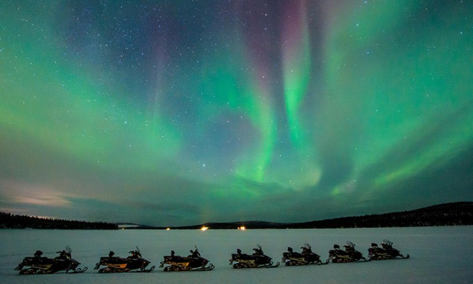 Beautiful Adventure Destinations: Snowmobile for Northern Lights in Jukkasjärvi, Sweden