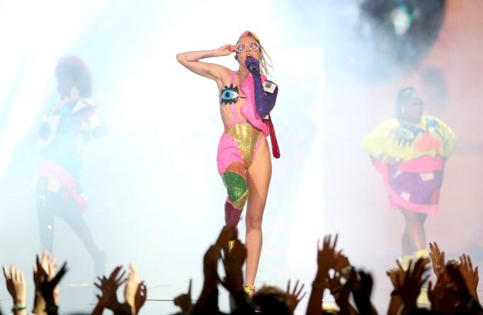 Miley Cyrus performing at VMAs