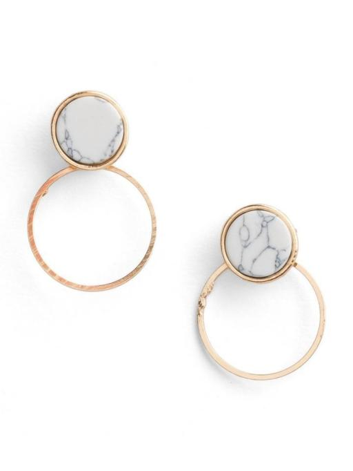 Gorgeous Jewelry Finds That Look Expensive: Marble Disc Earjackets | Inexpensive Jewelry Trends