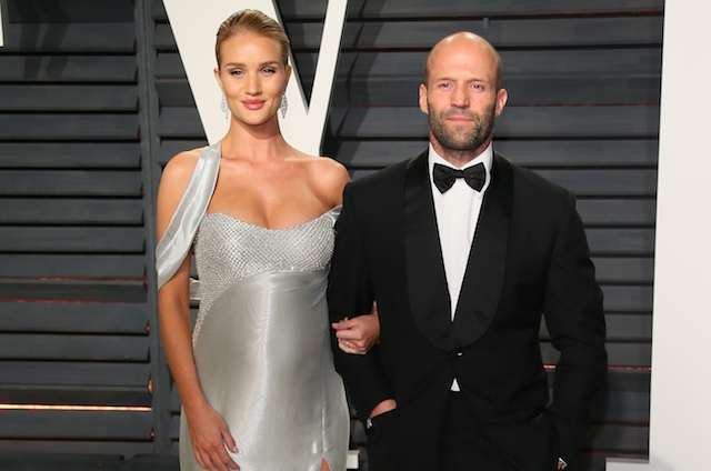 Rosie Huntington-Whiteley and Jason Statham attend the 2017 Vanity Fair Oscar Party