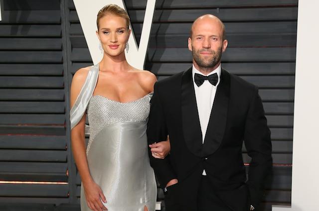 Rosie Huntington-Whiteley and Jason Statham attend the 2017 Vanity Fair Oscar Party