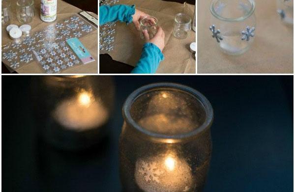 Snowflake luminaries craft for kids