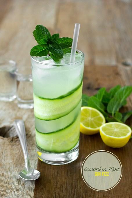 Cucumber-mint gin fizz