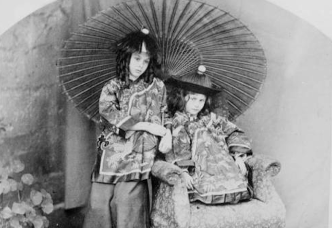 Alice and Ina in Asian costumes