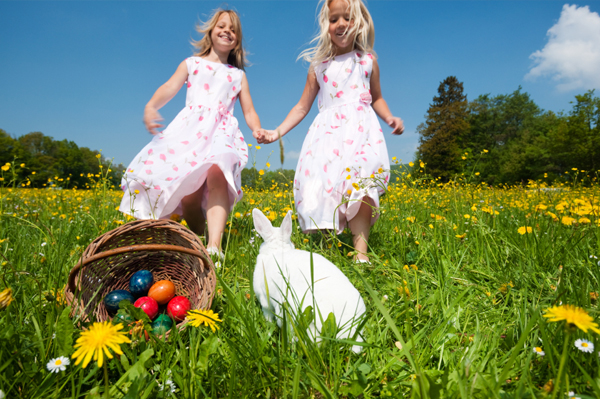 Girls at easter with bunny