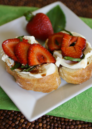 Mascarpone with strawberry and basil-balsamic topping