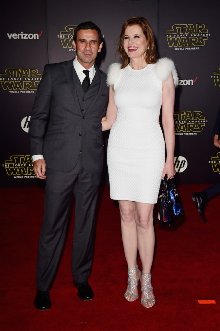 Geena Davis & Reza Jarrahy attend the premiere of 'Star Wars: The Force Awakens'