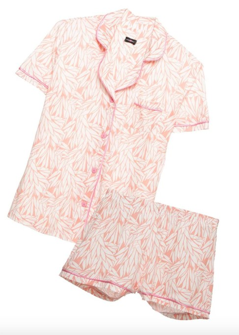The Best Summer Lingerie and Loungewear | Bella Printed Short-Sleeve Top & Short Pajama Set