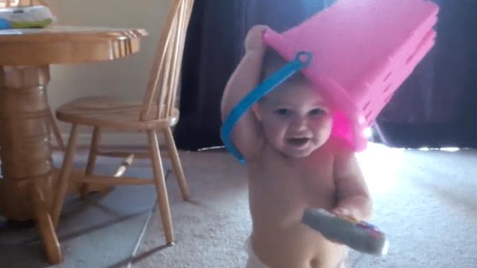 This toddler playing peekaboo puts all