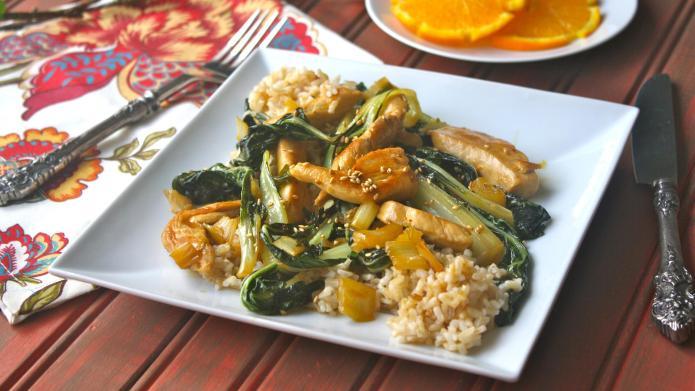 Sunday dinner: Orange-glazed chicken with bok