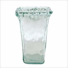 frosted, tapered glass vase