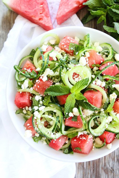 Cucumber noodle, watermelon and feta salad from Two Peas & Their Pod