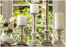 Mercury glass pillars