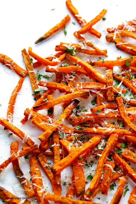 Healthy French Fry Recipes | Summer Eats | Parmesan baked sweet potato fries