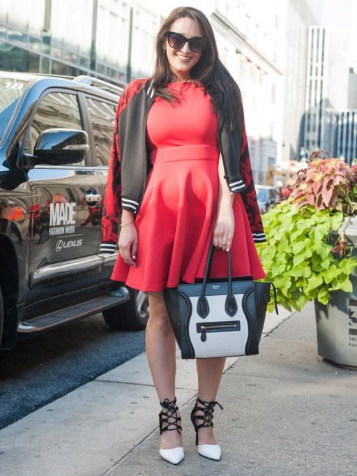 Fashion week street style red dress